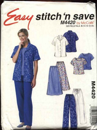 McCall�s Sewing Pattern 4420 Misses Size 14-20 Easy Wardrobe Button Front Shirt Top Skirt Pants
