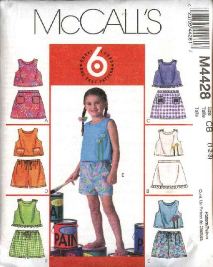 McCall's Sewing Pattern 4428 Girls Size 1-2-3 Easy Summer Sleeveless Top Skorts Shorts