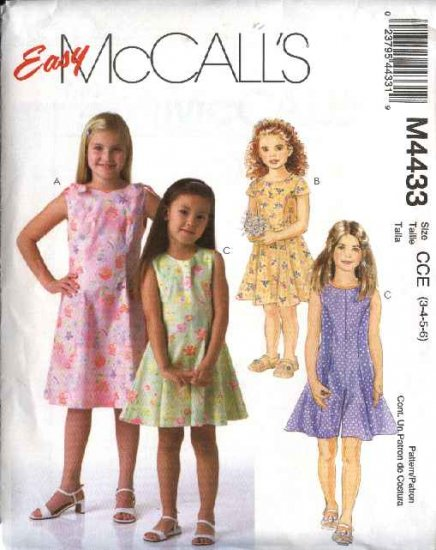 McCall's Sewing Pattern 4433 Girls Size 3-6 Easy Summer Dresses Jumpsuit