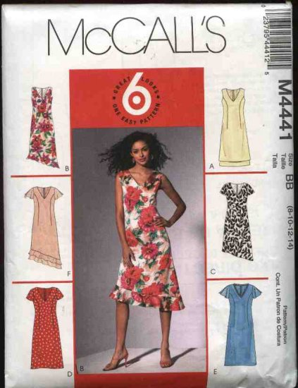 McCall's Sewing Pattern 4441 Misses Size 14-20 Easy A-Line Lined Dress Sleeve Hem Variations