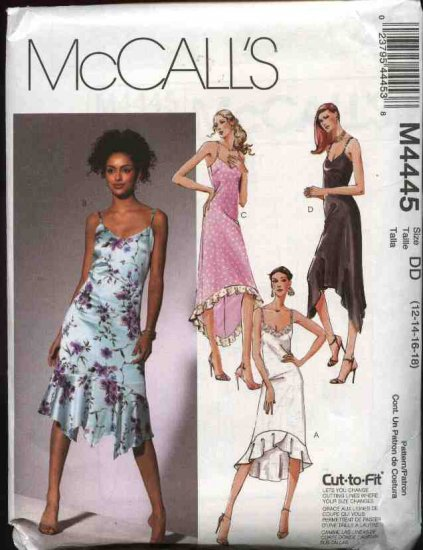McCall's Sewing Pattern 4445 Misses Size 12-18 Summer Sleeveless Lined Dress Hemline Variations