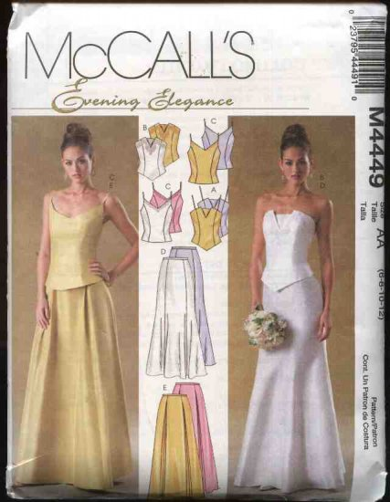 McCall's Sewing Pattern 4449 Misses Size 10-16 2-Piece Wedding Gown Formal Prom Dress Skirt Top