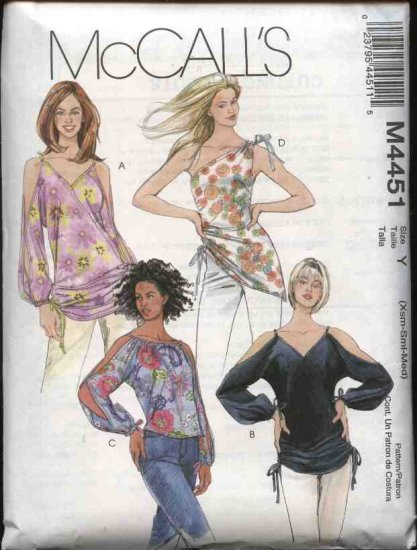 McCall's Sewing Pattern 4451 Misses Size 16-22 Pullover Tops Tunics Neckline Sleeve Variations