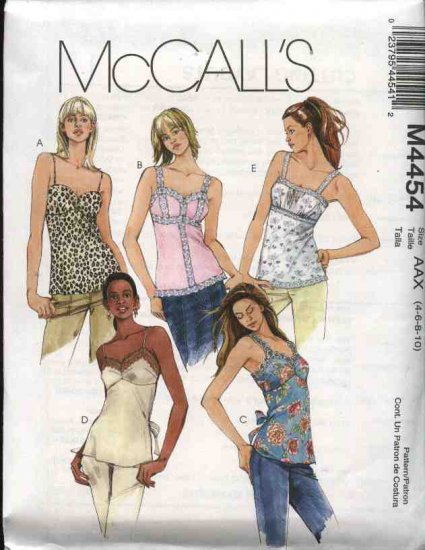 McCall's Sewing Pattern 4454 Misses Size 8-14 Empire Waist Camisole Style Pullover Top