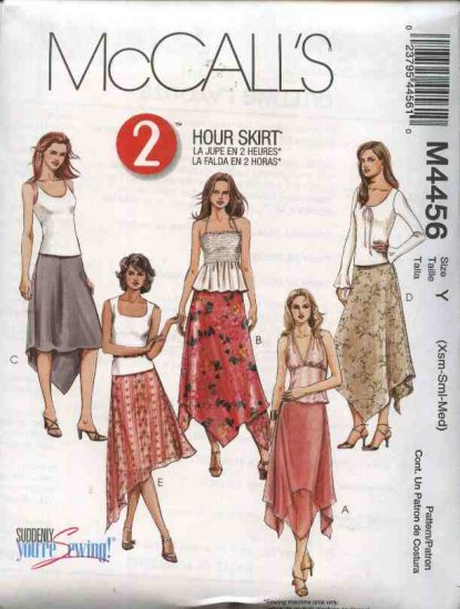 McCall's Sewing Pattern 4456 Misses Size 4-14 2-Hour Pull On Long short Asymmetrical Hemline Skirts