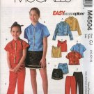 McCall's Sewing Pattern 4504 Girls Size 7-12 Easy Wardrobe Button Front Shirts Top Skirt Pants