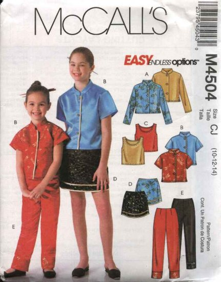 McCall�s Sewing Pattern 4504 Girls Size 10-14 Easy Wardrobe Button Front Shirts Top Skirt Pants