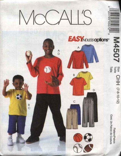 McCall�s Sewing Pattern 4507 Boys Sizes 7-12 Easy Pullover Knit Top Pull On Pants Shorts Appliques