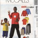 McCall's Sewing Pattern 4507 Boys Sizes 7-12 Easy Pullover Knit Top Pull On Pants Shorts Appliques