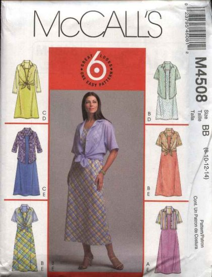McCall�s Sewing Pattern 4508 M4508 Misses Size 8-14 Pullover Sleeveless Dress Button Front Shirt