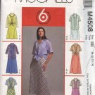 McCall's Sewing Pattern 4508 M4508 Misses Size 8-14 Pullover Sleeveless Dress Button Front Shirt