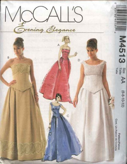 McCall�s Sewing Pattern 4513 Misses Size 6-12 Evening Wedding Formal Prom Gown Dress Top Skirt