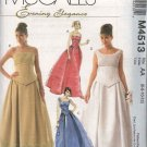McCall's Sewing Pattern 4513 Misses Size 6-12 Evening Wedding Formal Prom Gown Dress Top Skirt