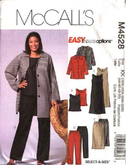 McCall's Sewing Pattern 4528 Womans Plus Size 26W-32W Easy Wardrobe Jacket Skirt Top Dress Pants