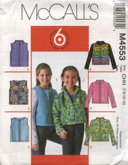McCall�s Sewing Pattern 4553 Girls Size 10-14 Easy Fleece Zipper Front Long Sleeve Jacket Vest