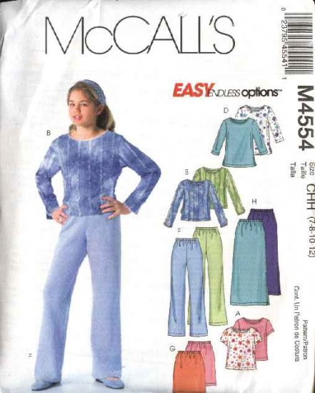 McCall's Sewing Pattern 4554 M4554 Girls Size 7-12 Easy Knit Pullover Tops Straight Skirts Pants