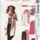 McCall's Sewing Pattern 4555 Girls Size 7-12 Easy Knit Hooded Sweatercoat Dress Top Pants