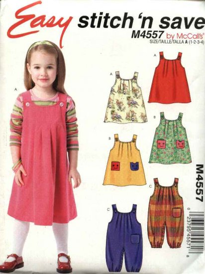 McCall�s Sewing Pattern 4557 Girls Size 1-4 Easy Jumpers Jumpsuit Overalls Optional Snap Crotch