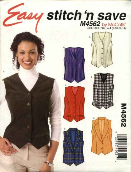 McCall�s Sewing Pattern 4562 Misses 16-22 Easy Button Front Princess Seam Lined Vest