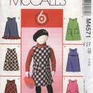 McCall's Sewing Pattern 4571 Girls Size 1-3 Easy Jumper Optional Patch Pockets Hem Ruffle