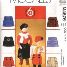McCall's Sewing Pattern 4576 Girls Size 7-12 Easy Skorts Pocket Trim Variations