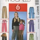 McCall's Sewing Pattern 4577 Girls Size 7-12 Easy Pull-on Straight Legged Pants Sash Scarf
