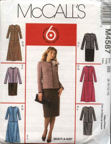 McCall�s Sewing Pattern 4587 Miss Size 8-14 Easy Unlined Button Front Jacket Straight Flared Skirt