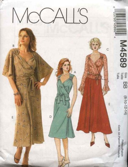 McCall�s Sewing Pattern 4589 Misses 12-18 Two-Piece Dress Front Wrap Tops Bias Flared Skirt