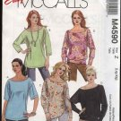 McCall's Sewing Pattern 4590 Misses Size 16-22 Easy Pullover Knit Casual Tops Tunics
