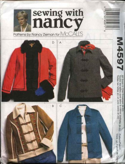 McCall's Sewing Pattern 4597 Misses Size 8-22 Nancy Zieman Lined Unlined Button Front Jacket