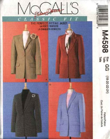 McCall's Sewing Pattern 4598 Misses Size 12-18 Classic Fit Lined Long Sleeve Suit Jackets