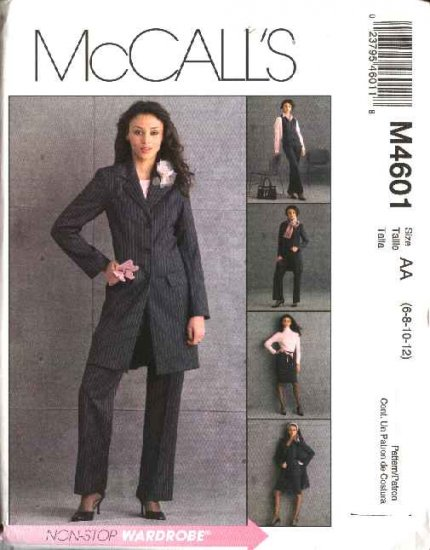 McCall's Sewing Pattern 4601 Misses Size 6-12 Wardrobe Lined Jacket Vest Skirt Pants