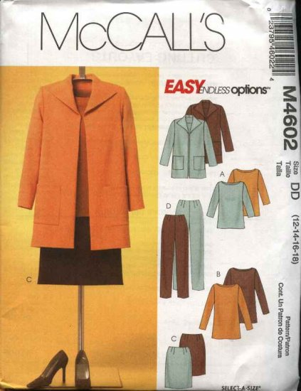 McCall's Sewing Pattern 4602 Misses Size 8-14 Easy Unlined Jacket Top Tunic Straight Skirt Pants