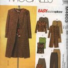 McCall's Sewing Pattern 4603 Misses Size 8-14 Easy Wardrobe Lined Jacket Coat Bias Top Skirt Pants