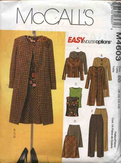 McCall's Sewing Pattern 4603 Misses Size 16-22 Easy Wardrobe Lined Jacket Coat Bias Top Skirt Pants