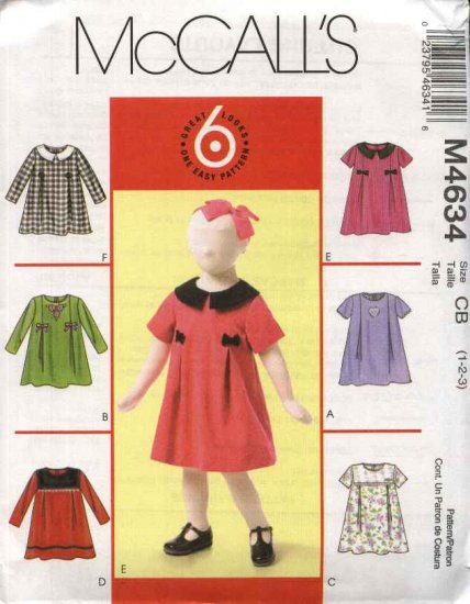 McCall's Sewing Pattern 4634 Girls Size 1-2-3 Easy Short Long Sleeve Dresses