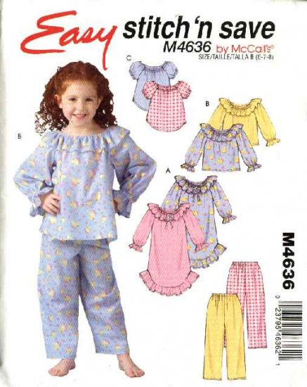 McCall's Sewing Pattern 4636 Girls Size 6-7-8 Easy Nightgown Pajama Tops Pants