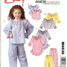 McCall's Sewing Pattern M4636 4636 Girls Size 6-8 Easy Nightgown Pajama Tops Pants