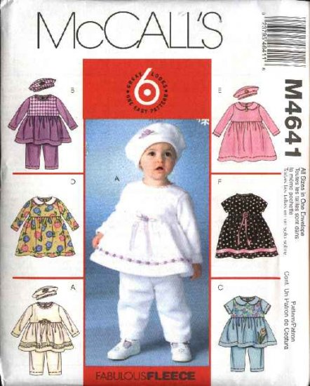 McCall's Sewing Pattern 4641 Baby Girls Size 13-24# Easy Top Dresses Pants  Hat