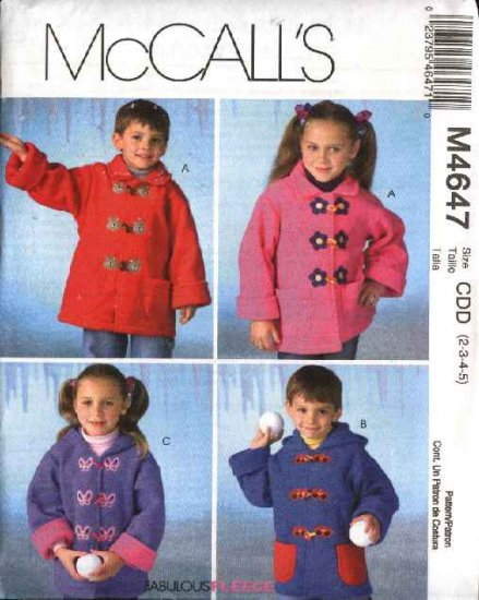 McCall's Sewing Pattern M4647 4647 Girls Boys Size 2-5 Unlined Long Sleeve Hooded Jackets Coats
