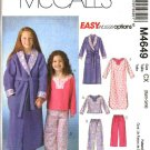 McCall's Sewing Pattern M4649 4649 Girls Size 7-16 Easy Wrap Front Robe Pajama Top Long Pants