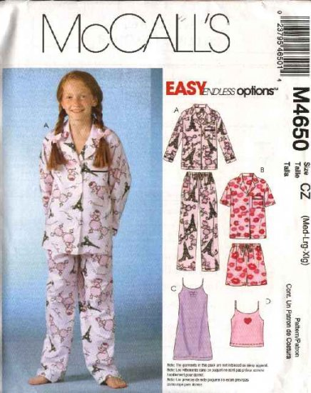 McCall's Sewing Pattern 4650 M4650 Girls Size 7-16 Easy Button Front Top Gown Camisole Pants Pajamas