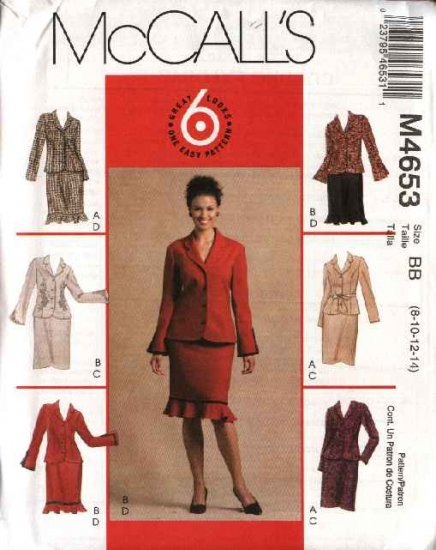 McCall's Sewing Pattern 4653 Misses Size 8-14 Easy Unlined Button Front Jackets Straight Skirts Suit