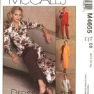 McCall's Sewing Pattern 4655 Misses Size 8-14 Unlined Button Front Jacket Dress Duster Pants