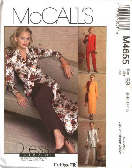 McCall's Sewing Pattern 4655 Misses Size 10-16 Unlined Button Front Jacket Dress Duster Pants