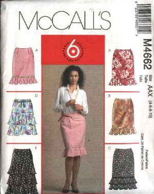 McCall's Sewing Pattern 4662 Misses Size 4-10 Easy Lined  Straight Tiered Ruffled Skirts