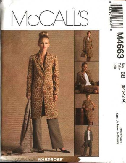McCall's Sewing Pattern 4663 Misses Size 10-16 Wardrobe Lined Jacket Top Skirt Pants