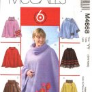 McCall's Sewing Pattern 4668 Misses Size 16-26 Easy Embellished  Ponchos Attached Scarf