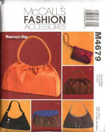 McCall's Sewing Pattern 4679 Six Soft Lined Handbags Purses Bags Pocketbooks