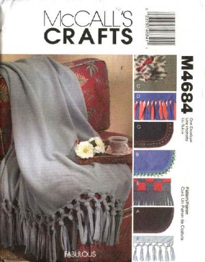 McCall's Sewing Pattern 4684 Fringed Trimmed Contrast Fleece Blankets